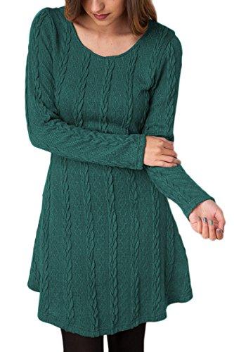 YMING Damen Langarm Tunika Stricken Langarm Jumper Mini Kleid Pullover,Grün,L