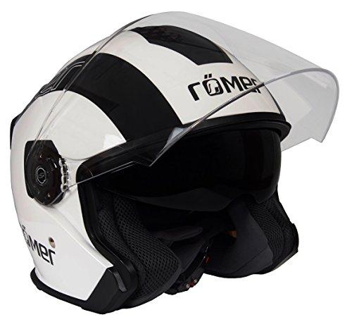 Römer Helmets Motorradhelm Koblenz Race, Glänzend Schwarz-Weiß, Größe L