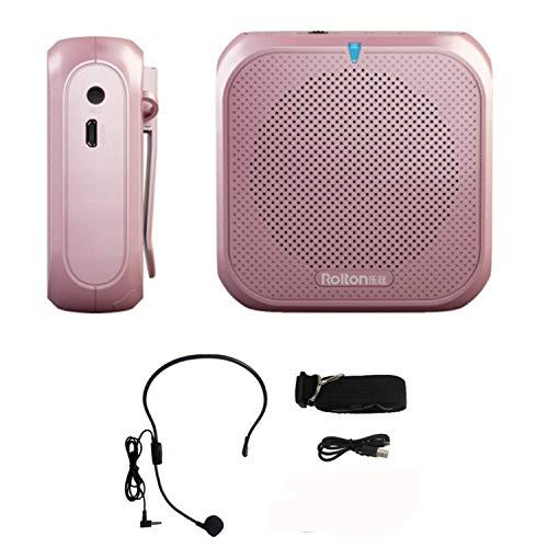 Amplificador de Voz con Microfono,Amplificador Portatil Digital Recargable 5W USB U Disk/TF para guías Maestros Profesores Artistas animadores promotores de Ventas,etc (oro rosa)