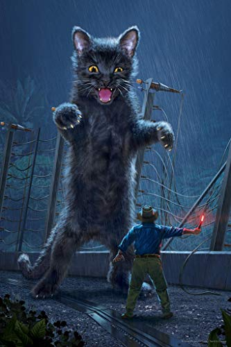 Jurassic Kitty Dinosaur Cat by Vincent HIE Movie Parody Cool Wall Decor Art Print Poster 24x36