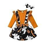 MoccyBabeLee Conjunto de 3 piezas de ropa de invierno para niños pequeños y niñas, con estampado de calabaza, amarillo, 3-4 Años