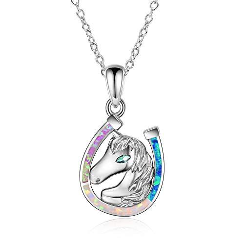 Cadena de caballo con colgante de herradura, plata de ley S925 para mujer, regalo (cadena de ópalo colorido)