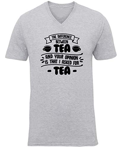 Hippowarehouse The Difference Between Tea and Your Opinion is That I Asked for Tea Unisex V-Neck Short Sleeve t-Shirt (Specific Size Guide in Description) Grey