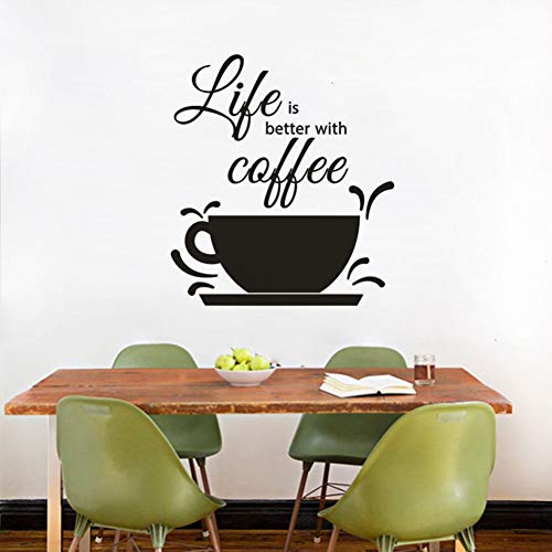 FOMBV Muursticker Coffeewall decal cafe winkel decoratie koffie tekst muur raam sticker leven is beter met Coffee Wall Mural