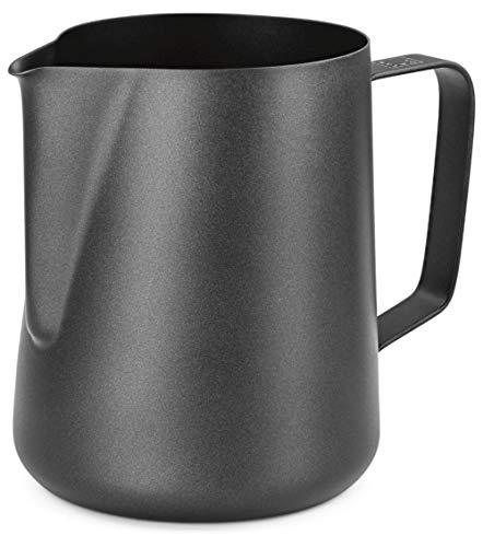 Lambda Coffee® Milchkännchen 600ml aus Edelstahl für Barista Zubehör | Milk jug Pitcher schwarz Teflon beschichtet | Milchkanne Milch aufschäumen Latte Art 600ml | für Espresso Siebträger Barista Set