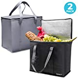 Smirly Insulated Reusable Grocery Bags: 2 Pack of Heavy Duty Shopping Bags with Zippered Top and Sturdy Handles - Large Thermal Insulated Tote Bag for Hot or Cold Groceries, Food Delivery and More