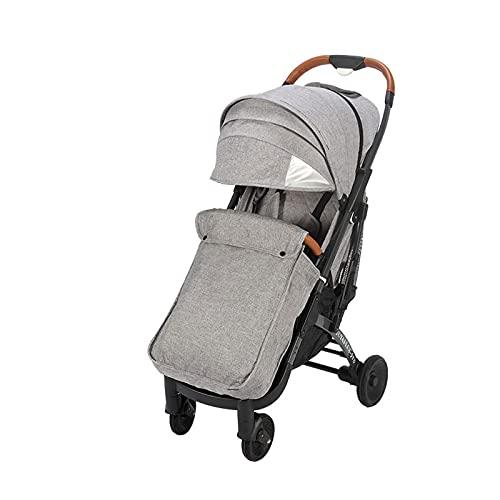 ZKK Cochecito de aleación de aluminio, cochecito de alta visión que absorbe los golpes para los niños para viajar, caminar en el parque, carrito de la compra (color: gris)