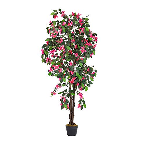 INMOZATA Artificial Flower Tree Azalea with Pot Decorative Plants for Indoor Outdoor Garden