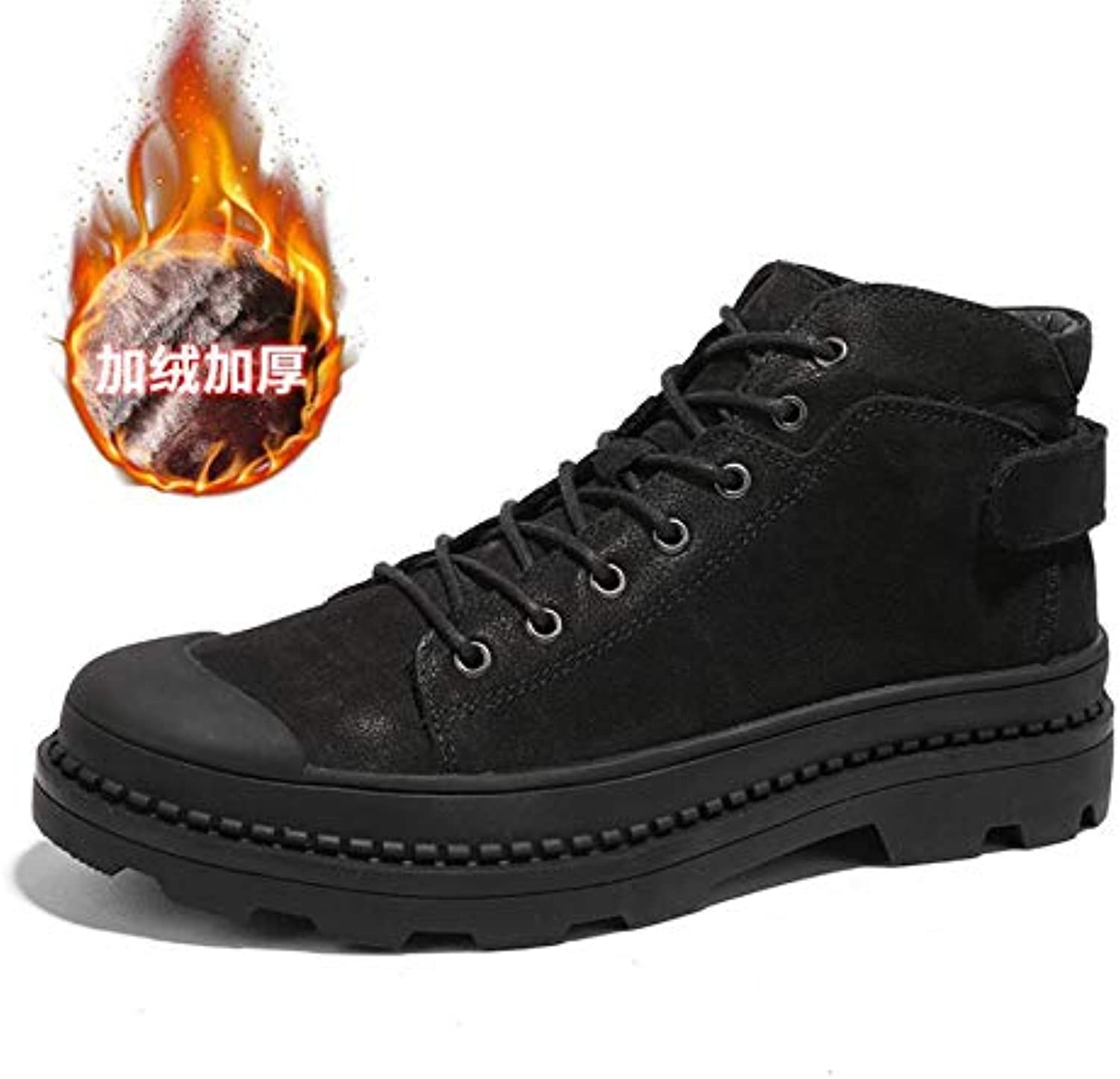 Martin Boots Men's Boots British First Layer Leather Boots Men's high-top shoes Men's shoes Autumn and Winter Large Size shoes 37-46