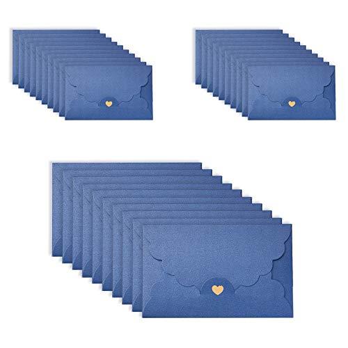 ASFINS Sobres de Azul, 36 Piezas Sobres Pequeños Vintage Sobres Regalo, Hechos a Mano Soportes Tarjeta, Cierre de Corazón Bronceador, para Bodas Cumpleaños Navidad, 17,4 x 11 cm (M)