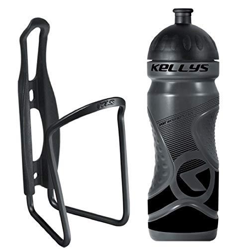 Kellys Fahrrad Trinkflaschenhalter Set Caliber + Trinkflasche 0,7 Sport, Namib Schwarz, grün, Blau, Gelb, Weiss, Farbe:Schwarz