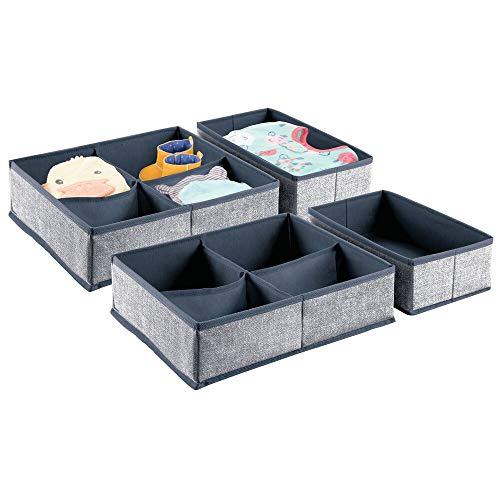 mDesign Juego de 4 Cajas organizadoras de Tela – Ideales organizadores para cajones o armarios de la habitación Infantil con 1 o 4 Compartimentos – Cestas de Tela Multiusos en 2 tamaños – Azul Marino
