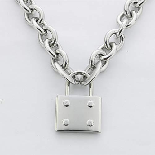 Collar de levantamiento de pesas y fitness con colgante grande de bloqueo grande de acero de titanio para hombres y mujeres, collar de clavícula, regalo de cumpleaños