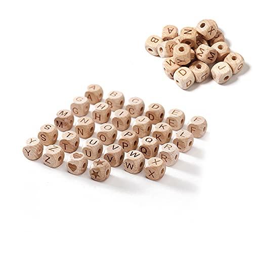 ZHIQIN 58 Piezas Cuentas de Alfabeto de Madera Natural Letras de Cuentas de Madera para Joyería de Bricolaje Pulseras Collares Llaveros, 10mm, A-Z Alfabeto