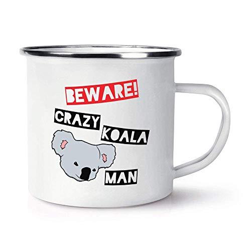 N\A Beware Crazy Koala Man Taza de cerámica Brillante con Esmalte Retro de 10 oz con asa en C - Australia