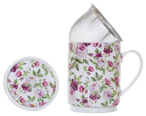 La Cija Rose Garden Tisana de Porcelana con Filtro de Acero Inoxidable,...