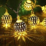 PESCA Moroccan 16 LED String Lights Plug-in Metal Ball, Connectable with Tail for All Occasions-Christmas, Diwali, Golden