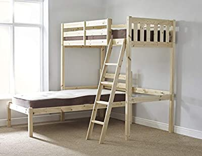 L SHAPED 3ft bunkbed - Wooden High sleeper loft bunk bed with single under bedLShaped Bunk Bed for kids - FAST DELIVERY