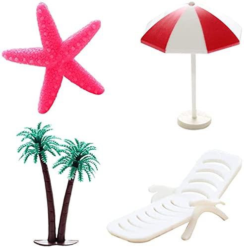 4 peças Mini enfeite de decoração de praia estilo havaiano pequeno guarda-sol cadeira de praia coqueiro micro decoração de paisagem para boneca de jardim zen