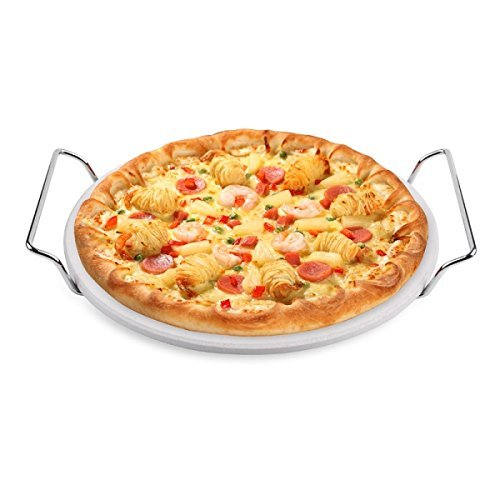 Hero Pizzastein Ø 25,4 cm Cordierit mit Metalgestell für Gas Kohle Grills