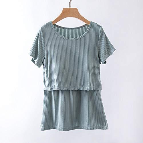 WYxiaobaozi Schwangere Frauen Stillen Unsichtbare Fütterung T-Shirt, Home Kleidung Pflege Oben Kurzarm Baumwolle Schwangerschaft Tunika Für Schwangere, Erbse, Grün, XXL
