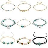 REVOLIA 9PCS Charm Anklets for Women Girls Beach Ankle Bracelets Blue Starfish Turtle Shell Anklet Handmade Boho Foot Jewelry Adjustable