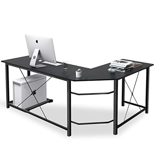 L Shaped Desk Corner Computer Desk Sturdy Computer Table Writing Desk Gaming Desk Workstation, Coleshome,Black
