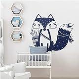 dwxnzbz Wall Decal Lovely Woodland Fox Wall Sticker Children's Room Kindergarten Wall Art Tattoo Vinyl Mural 56X47 cm