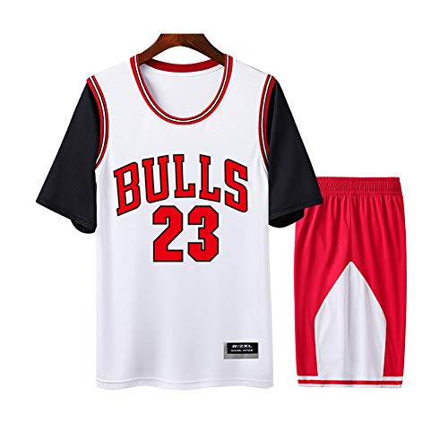 Jordan Bulls #23 Weiß Herren und Damen Atmungsaktives Basketball-Trikot Rundhalsausschnitt Fake Zweiteiliges Kurzarm-T-Shirt 2-teiliges Set (S-4XL) 3XL farbe