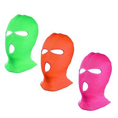 SUNTRADE 3 Loch Beanie Face Mask Ski für Männer und Frauen, 3er Set (Grün + Orange + Rosenrot)
