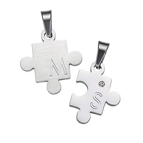 Gravado 2er Set Halsketten aus Edelstahl für Paare mit Puzzle-Anhängern, Personalisiert mit Initialen, Karabinerverschluss, Länge 50 cm