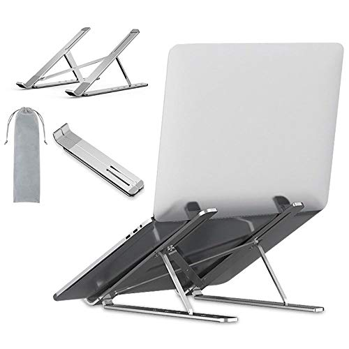 Portable Laptop Stand, Aluminum Foldable Desktop Holder, 6 Levels Height&Angle Adjustable Aluminum Ventilated Notebook Riser for MacBook Air Pro, Dell, Surface, More 11-17inches PC Computer (Silver)