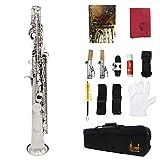 PFMY.DG Saxofón Soprano Bemol Recta Saxofón Blanca Shell Botón De Latón De Oro De Pintura con Guantes Cepillo De Limpieza Otro Accesorio,Plata