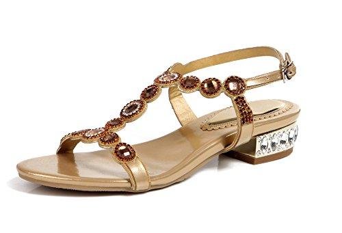Honeystore Frauen Kunstleder Niederiger Absatz Sandalen mit Strass Schuhe Gold 41.5 EU