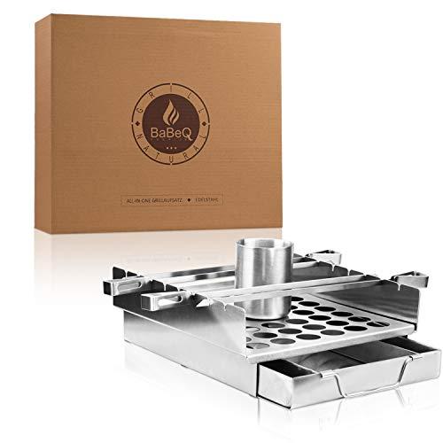 BaBeQ Premium 7 in 1 Grill Accessoire - perfekt als Hähnchen Grill Ständer, Rippchenhalter, für Grillspieße und vieles mehr - einzigartig innovativ