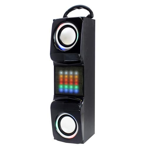 Craig CHT848 Portable Tower Speaker with Color Changing Lights and Bluetooth Wireless Technology | Rechargeable Battery | AUX Port Compatible | Carrying Handle |