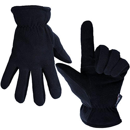 OZERO Deerskin Suede Leather Palm and Polar Fleece Back with Heatlok Insulated Cotton Layer Thermal Gloves, X-Large - Denim-Black