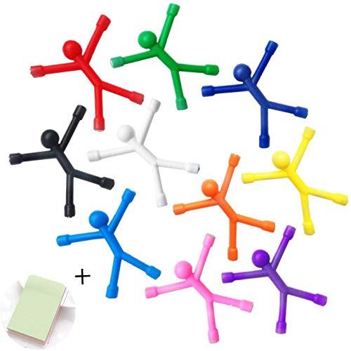 Refrigerator Magnets, 10 Pcs Novelty Mini Man Flexible Fridge Magnets, Cute Rubber Magnet Men Refrigerator Magnets + 100 Sheets/Pad Self-Stick Note Pads