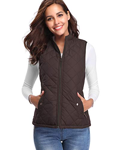 fuinloth Women's Padded Vest, Stand Collar Lightweight Zip Quilted Gilet Chocolate L