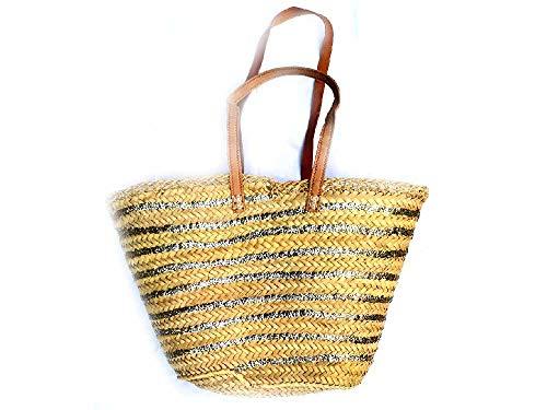 Bolsa de paja con lentejuelas, 50 x 30 cm, 33 cm de altura, asas de piel auténtica Madagascar para la playa, ceremonia, mujer, hombre, 1 regalo llavero