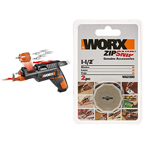 WORX WX255L SD Semi-Automatic Power Screw Driver with Screw Holder & WA2300 ZipSnip Replacement Blades for RC2600K,RC2601, RC2602, WX080L, WX081L (2 Pack)