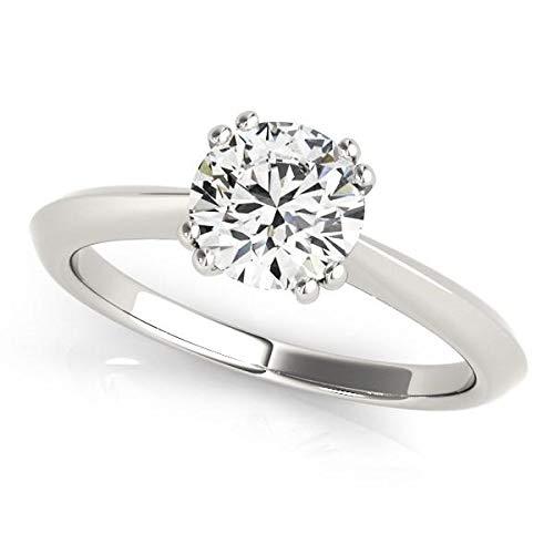 Anillo de compromiso de oro blanco de 14 quilates con doble punta de diamante solitario (1 cttw)