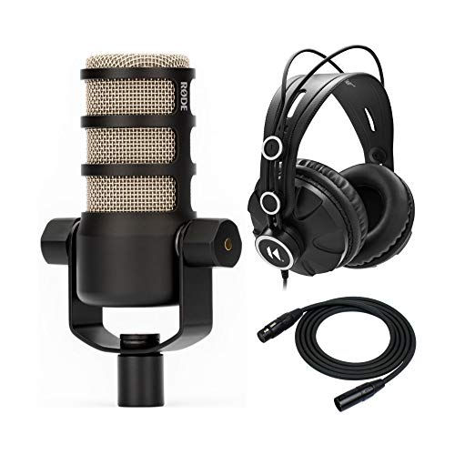 Rode PodMic Dynamic Podcasting Microphone Bundle with Knox Studio Headphones and Kirlin 25-Foot Cable (3 Items)