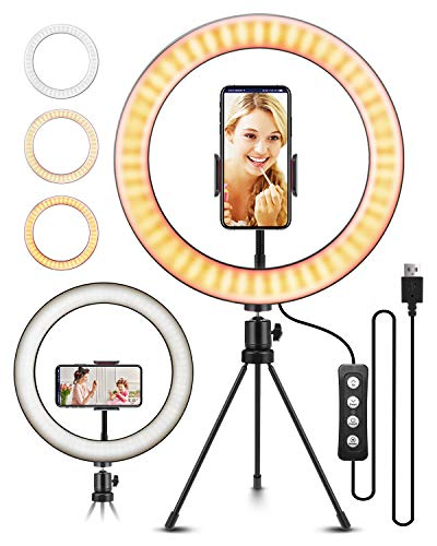 10.2 Selfie Ring Light with Tripod Stand, ELEGIANT Ring Light with Cell Phone Holder 3 Light Modes & 11 Brightness Level and 160 Bulbs for YouTube Video Live Stream Makeup Photography