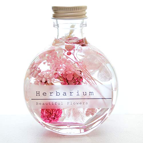 ハーバリウム 暗闇で光る花入りもあります!ギフト 花 フラワー プレゼント プリザーブドフラワー 植物標本 ドライフラワー 誕生日やお祝い、お見舞いにも。 (ピンク)