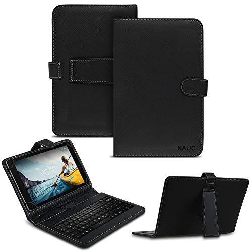 NAUC Keyboard USB Tastatur Ultra für Medion Lifetab P10612 P10610 Tablet QWERTZ Tastatur mit Schutzhülle aus Kunstleder mit Standfunktion & Magnetverschluss