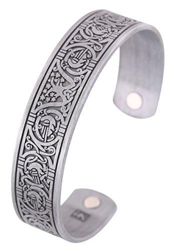 Nordische Wikinger Baum des Lebens Rabe Krähe Gesundheit Magnet Armreif Irish Knotwork Manschette Armband für Frauen Männer