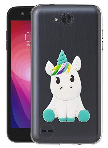 Sunrive Für LG X power2 Hülle Silikon, Transparent Handyhülle Schutzhülle Etui 3D Case für LG X power2(W1 Einhorn 1)+Gratis Universal Eingabestift MEHRWEG
