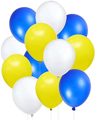 Kubert 100Pcs Blue Yellow White Balloons for Minions Party-100Pcs Latex Balloons, Balloon Ribbon for Deluxe Despicable Me Minions Birthday Baby Shower