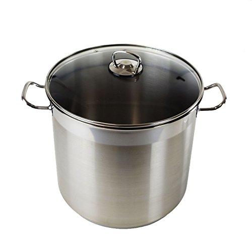 HI Universele pan met glazen deksel (diameter 15 l en 28 cm), 15 liter, roestvrij staal, grote kookpan, inductie, gasfornuis, elektrisch, keramiek, ideaal als soeppan